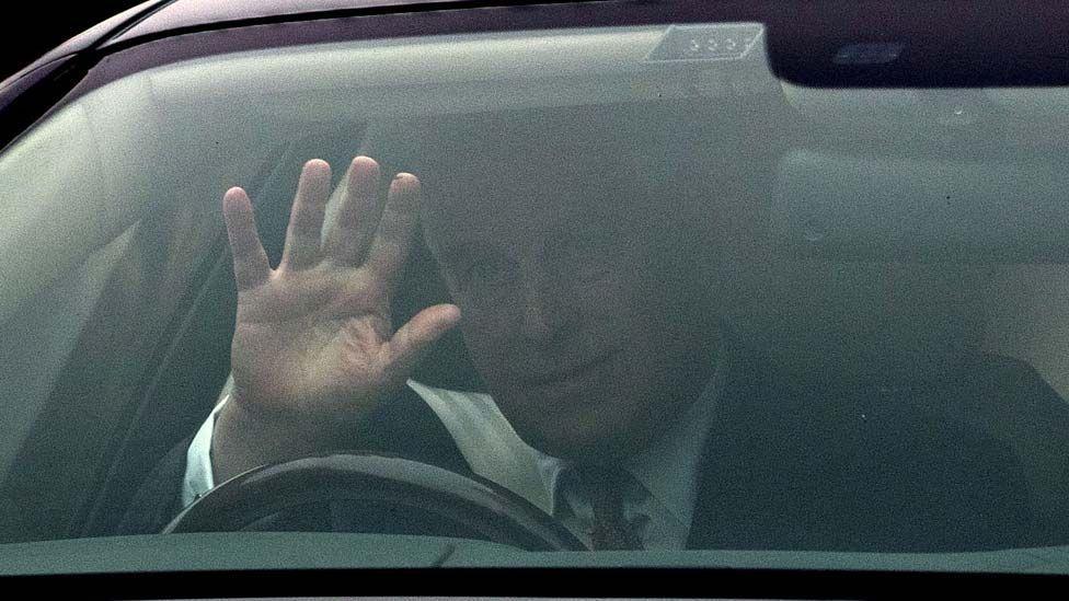 Prince Andrew driving near Windsor on Thursday