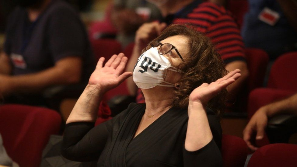 Magda Fyssa, mother of anti-fascist rapper Pavlos Fyssas, who was murdered in 2013 by a member of Golden Dawn, reacts at the announcement of the ultra-right party Golden Dawn's (Chrysi Avgi) verdict.