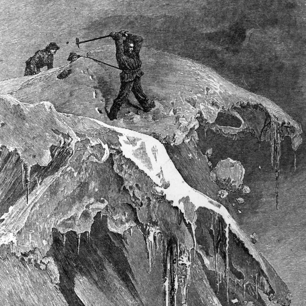 Edward Whymper - English wood engraver and mountaineer on the Morning Pass on the Matterhorn. Original Publication: People Disc