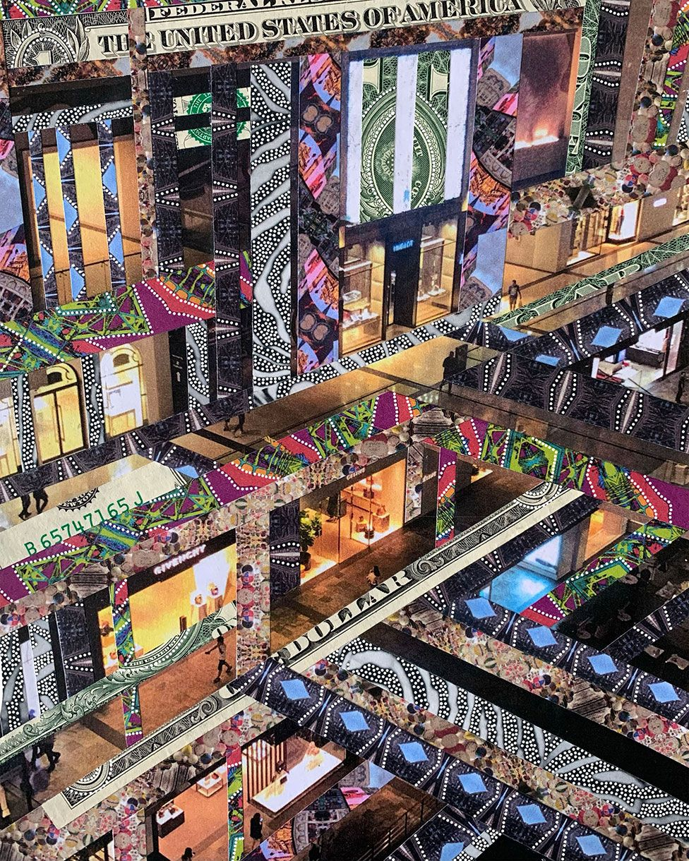 A piece of art showing a shopping mall made out of a collage of designs and dollar bills