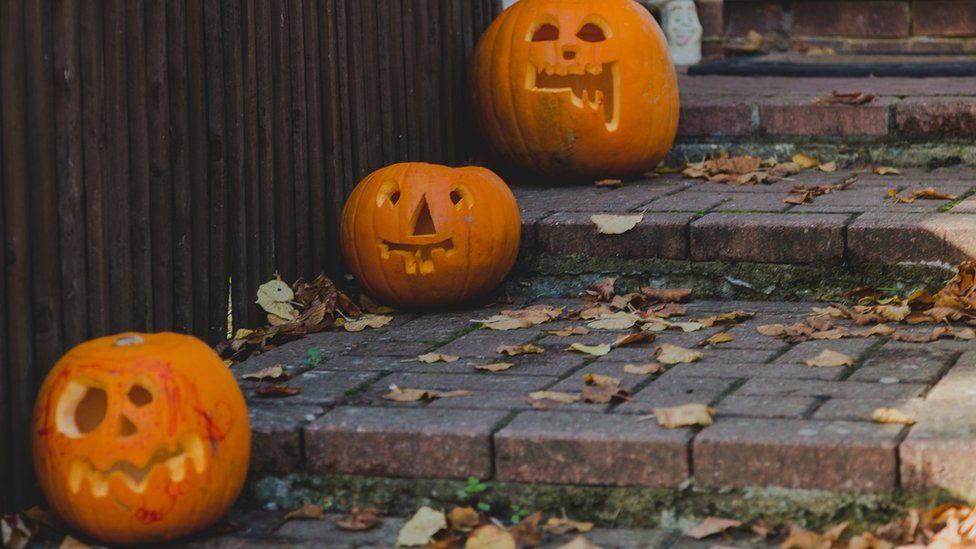 Pumpkins on some steps