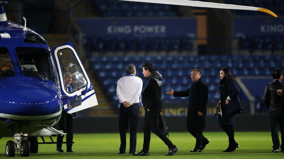 Mr Vichai getting in his helicopter