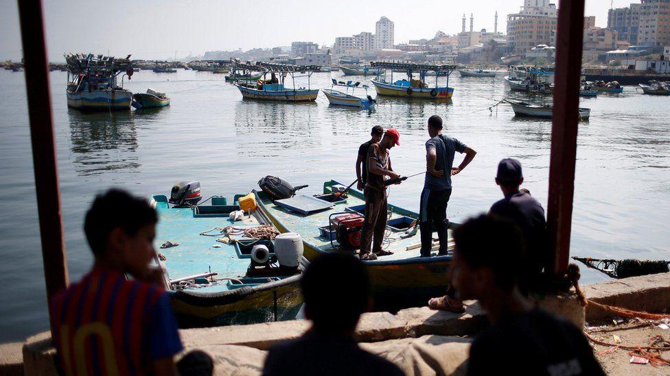 Palestinian fisherman at Gaza City's seaport on 17 July 2018