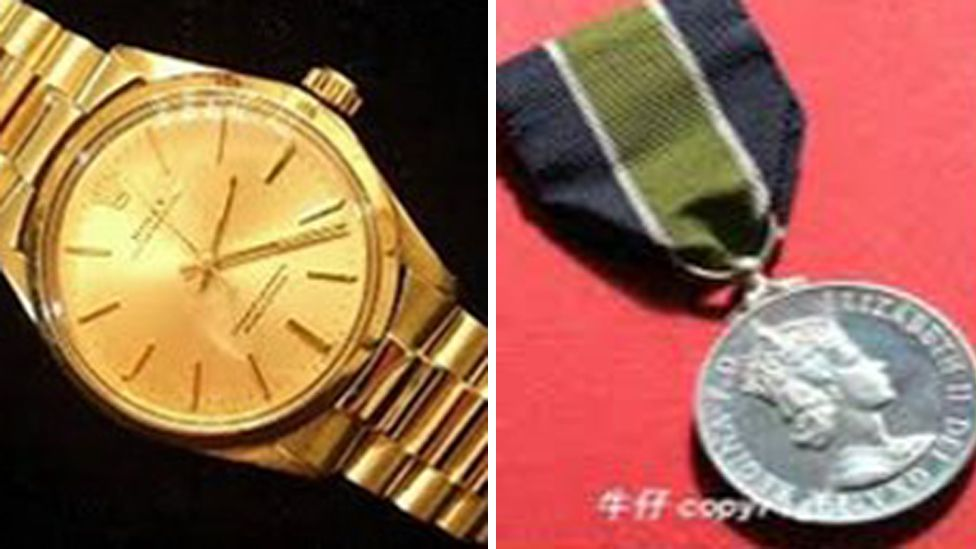1991 Rolex watch and Hong Kong police medal
