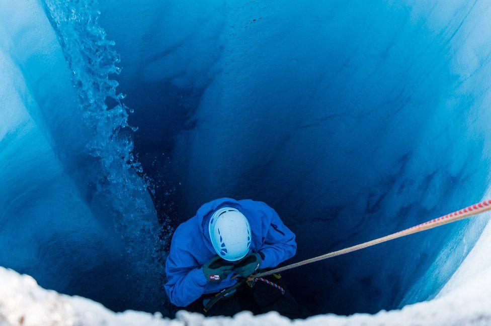 Descending into a glacier