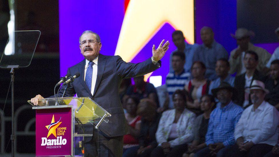 Dominican Republic President Danilo Medina speaks to supporters during a rally in Santo Domingo