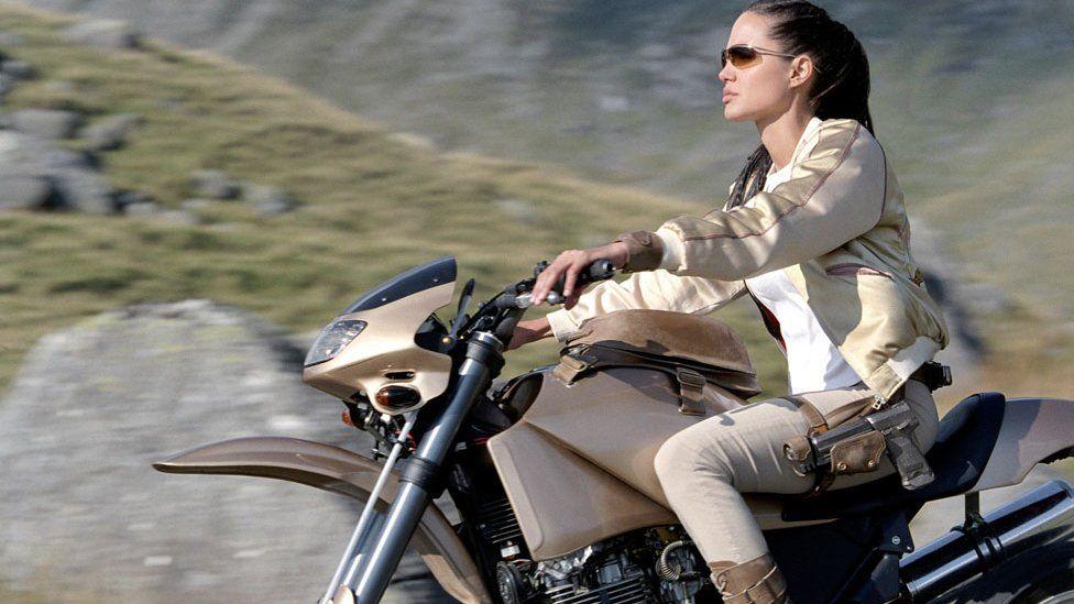 Angelina Jolie on a motorbike