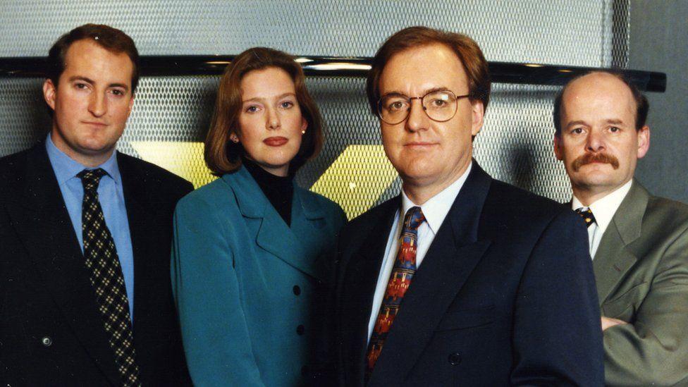 Cyflwynwyr a gohebwyr BBC Cymru ar noson Refferendwm '97