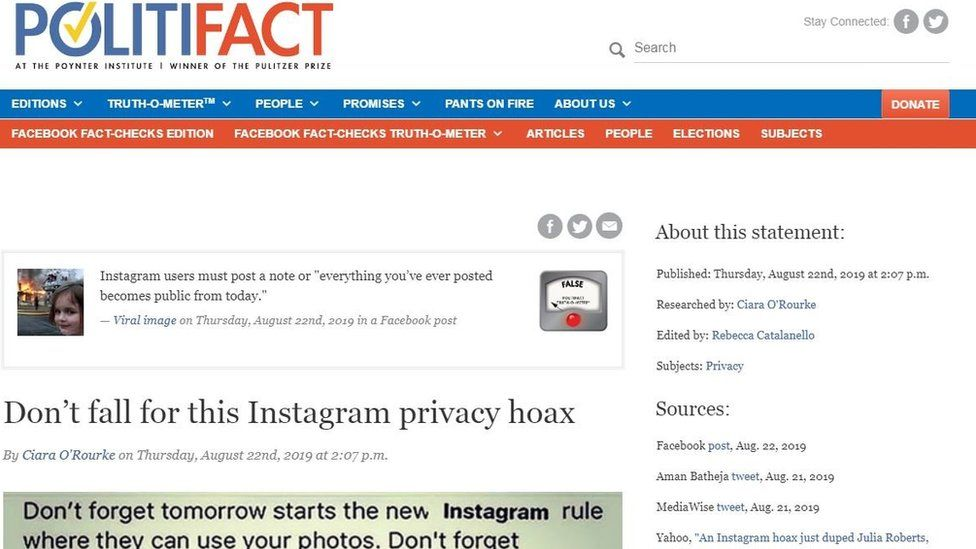 Screenshot of a recent Instagram viral hoax fact-checked by PolitiFact from their website
