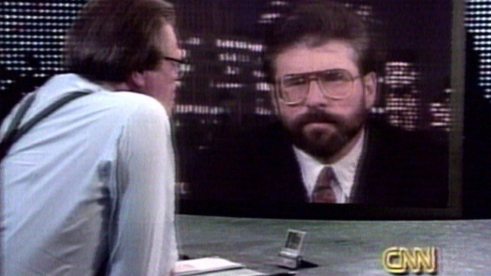 Larry King interviewing Gerry Adams on the Larry King Live show in 1994