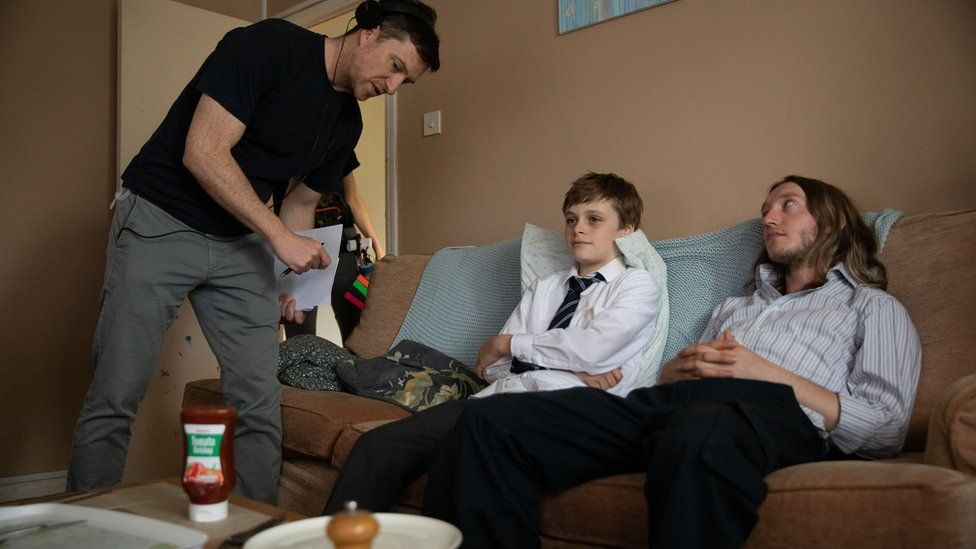 Nick Holt with Billy Barratt who plays Ray and James Tarpey
