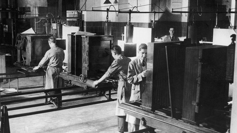 Large plate cameras in the process department at the Daily Express building in Fleet Street in June 1936, where artwork was prepared for reproduction.