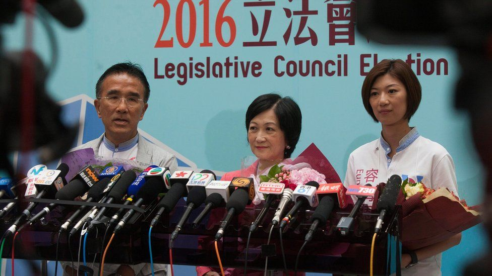 Michael Tien (L) and Regina Ip (C) and Eunice Yung (L) of the New People's Party news conference