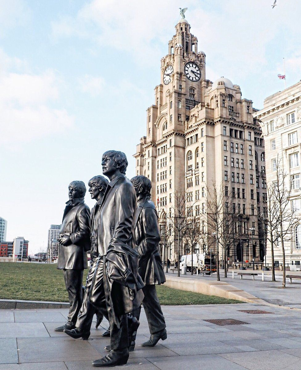 A statue of The Beatles