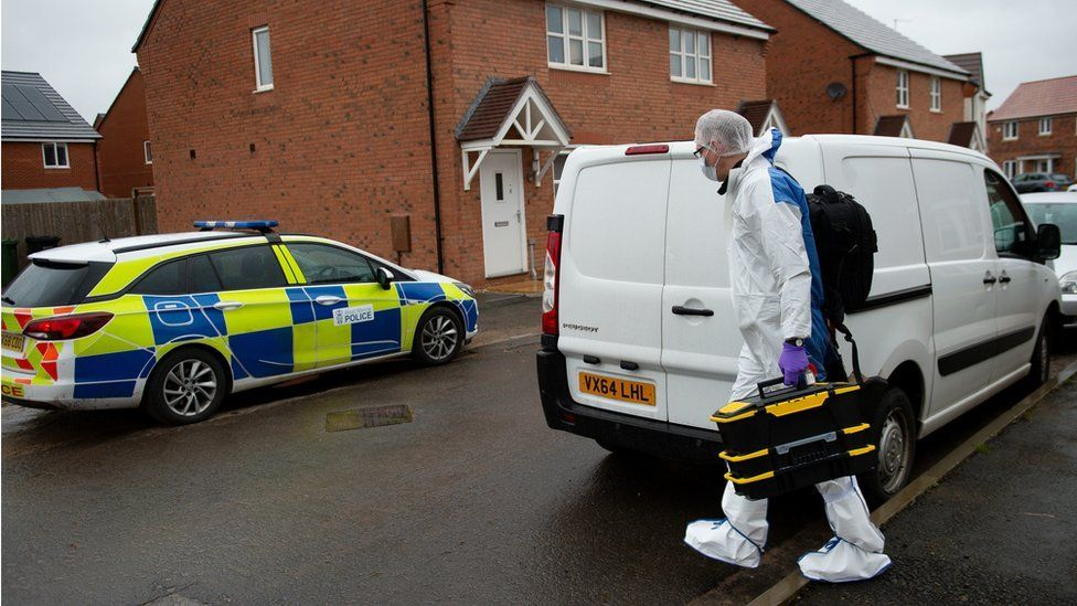 Forensics arrive at Vashon Drive in Droitwich, Worcestershire.