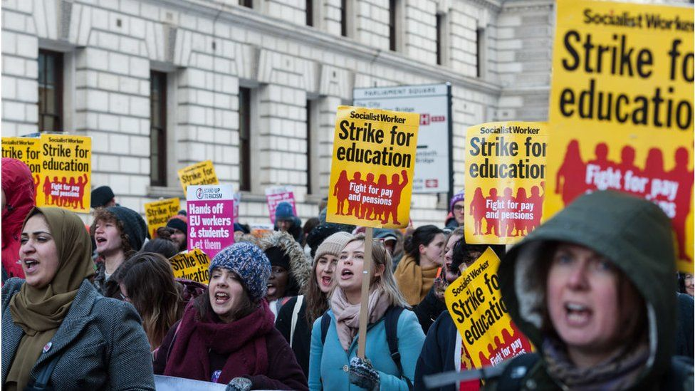 University staff and students attend a march for education in London in February 2018