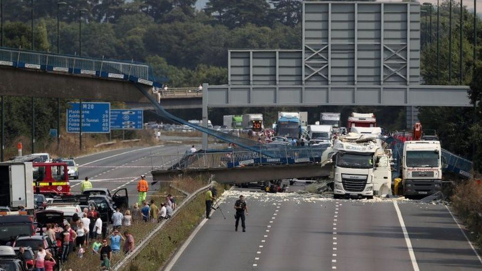 Scene of the bridge collapse on the M20 in Kent