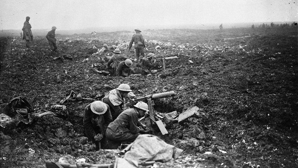 Canadian machine Gunners dig into shell holes at Vimy Ridge, Pas-de-Calais, France, April 1917
