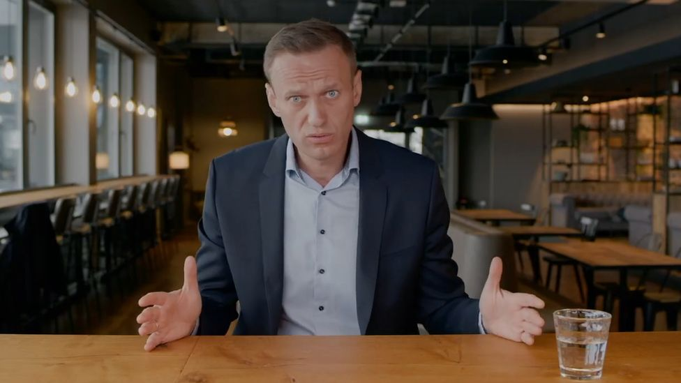 Image shows Alexei Navalny in the video