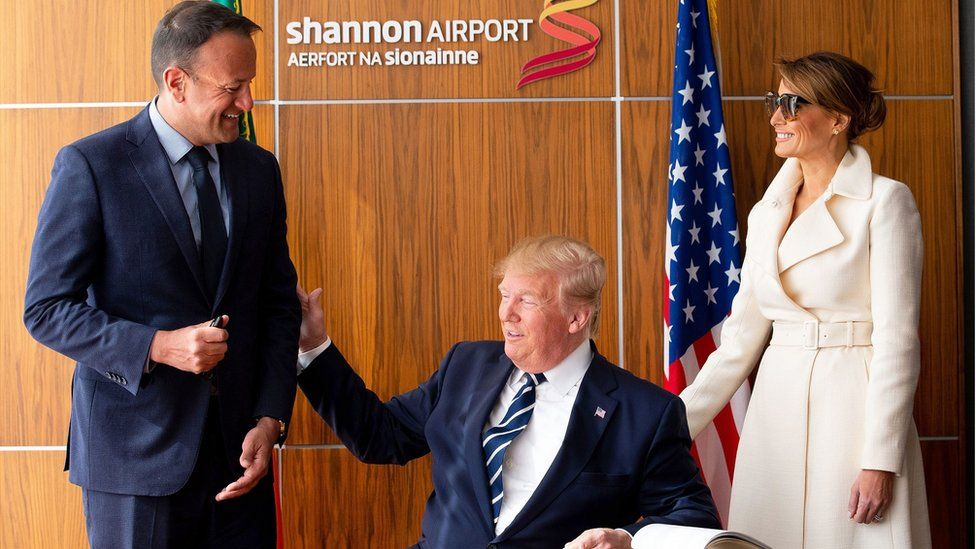 Donald and Melania Trump signed the visitors book at Shannon Airport