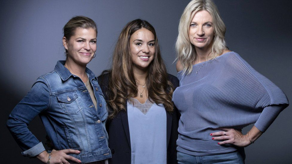 Ebba Karlsson (left), Anne-Claire LeJeune (centre) and Lisa Brinkworth (right) attended the senate hearing in Paris, and alongside the other former models called for the law around the statute of limitations to be reviewed.