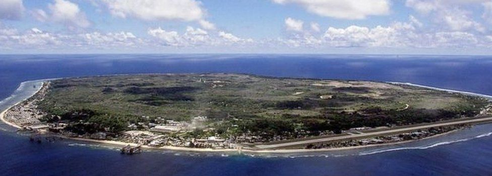 An aerial shot of the island of Nauru