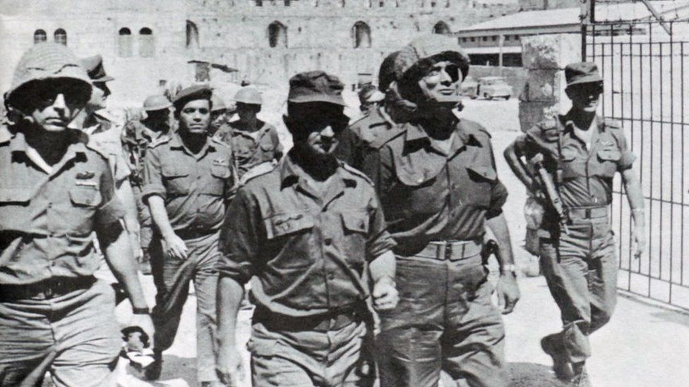 Israeli military commanders arrive in East Jerusalem, after Israeli forces seized East Jerusalem, during the Six Day War 1967