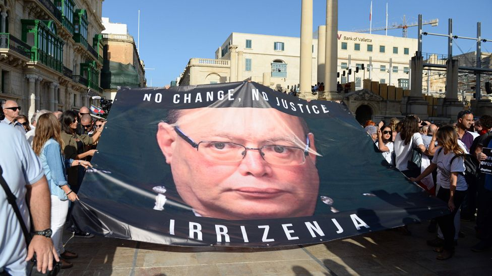 Protest against police chief Cutajar in Valletta, Oct 2017