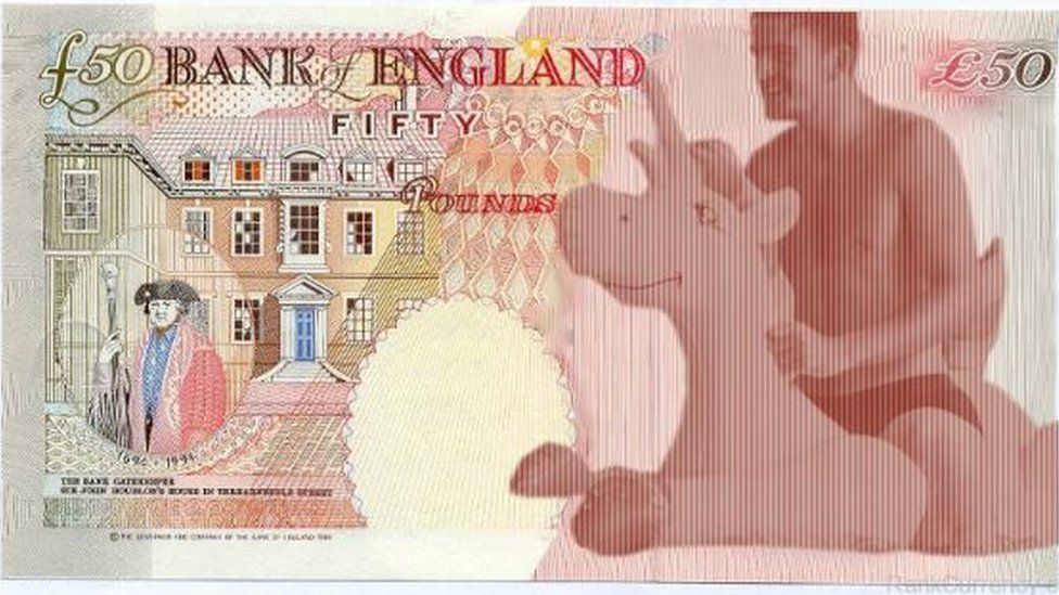 A mocked up design of a proposed new £50 note