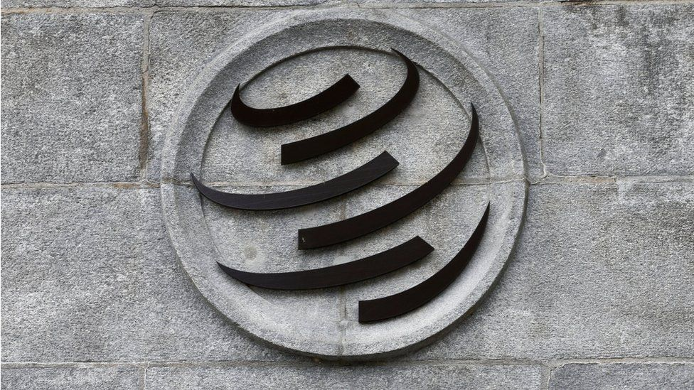 A World Trade Organization (WTO) logo is pictured on their headquarters in Geneva, Switzerland (June 3, 2016)