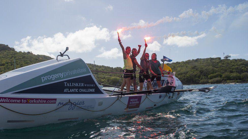 Niki Doeg, 45, Helen Butters, 45, Frances Davies, 47, and Janette Benaddi, 51, onboard their boat