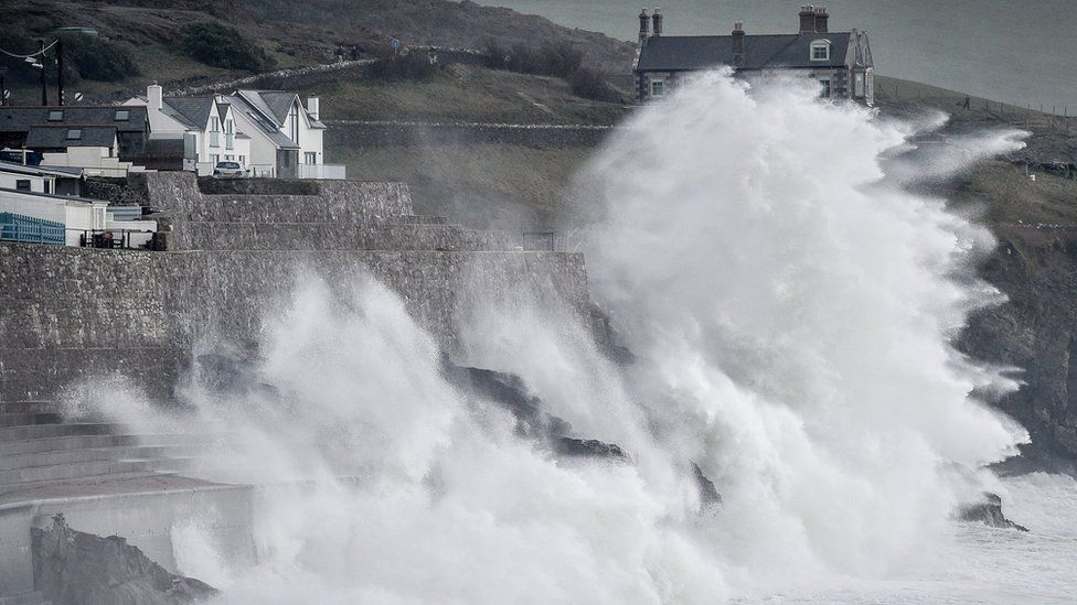 Waves hitting the coast in Porthleven, Cornwall