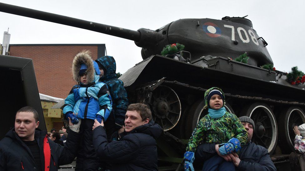People attend a ceremony to greet T-34 tanks in Naro-Fominsk, 80km from Moscow, on January 20, 2019