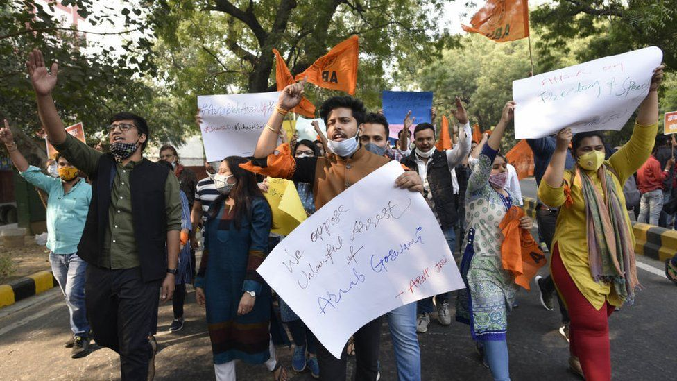 Supporters of Mr Goswami took to the streets after his arrest