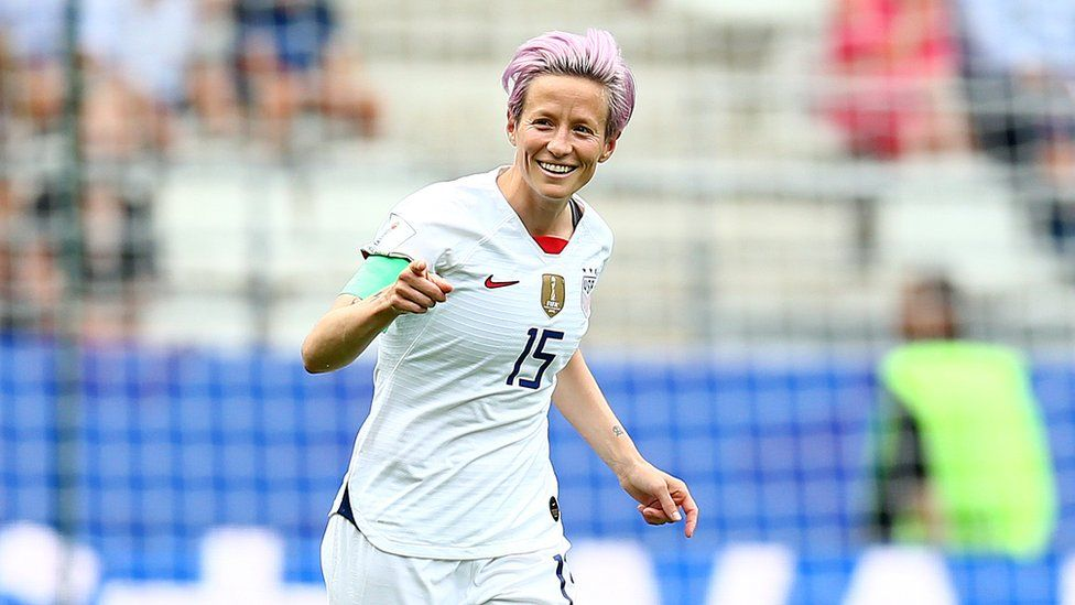 Megan Rapinoe of the United States celebrates after scoring a goal during the 2019 FIFA Women's World Cup France last-16 match between Spain and USA