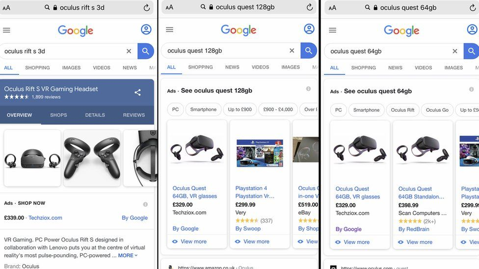 Oculus searches on Google
