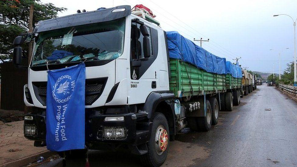 WFP trucks parked at a checkpoint along the Amhara and Tigray regions border