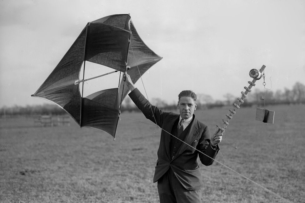 Robert Watson Watt experiments with a kite and a wireless transmitter in Berkshire, UK in the 1930s