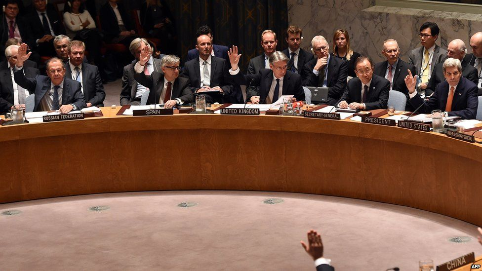 Russian Foreign Minister Sergey Lavrov, Spanish Foreign Minister Jose Manuel Garcia-Margall, British Foreign Secretary Philip Hammond, UN Secretary General Ban Ki-moon and US Secretary of State John Kerry vote during a UN Security Council meeting on Syria December 18, 2015.