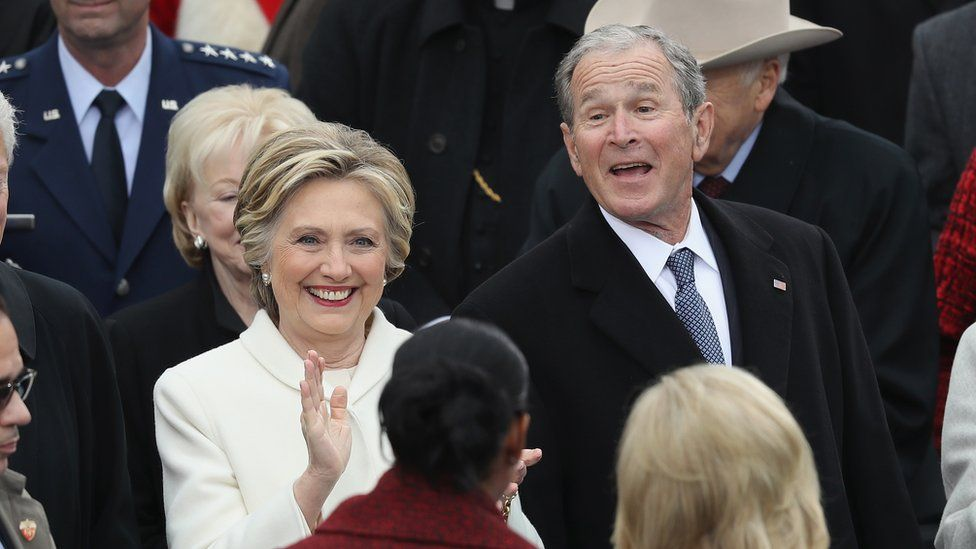Former Democratic presidential nominee Hillary Clinton and former President George W. Bush greet Michele Obama and Jill Biden at the West Front of the U.S. Capitol on January 20, 2017 in Washington, DC