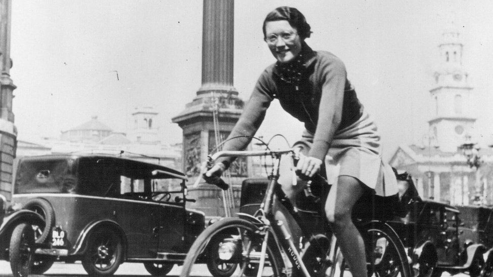 Billie Fleming on her bicycle