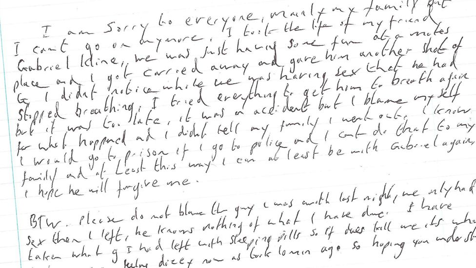 The fake suicide note left with Daniel Whitworth's body