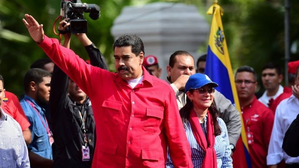President Nicolas Maduro greets supporters in Caracas. Photo: 25 October 2016