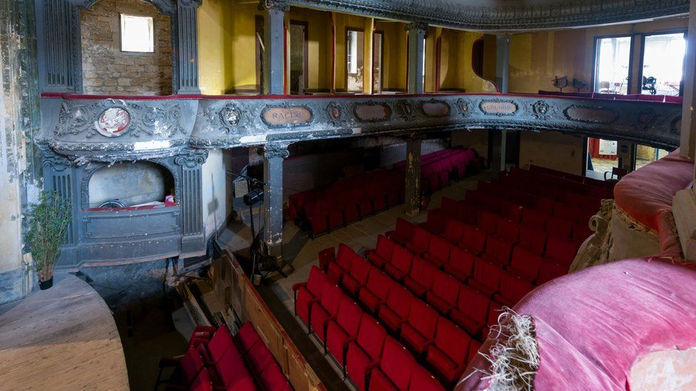 A picture taken on June 4, 2018 in Bar-le-Duc, eastern France, shows the interior of the Theatre des Bleus de Bar,