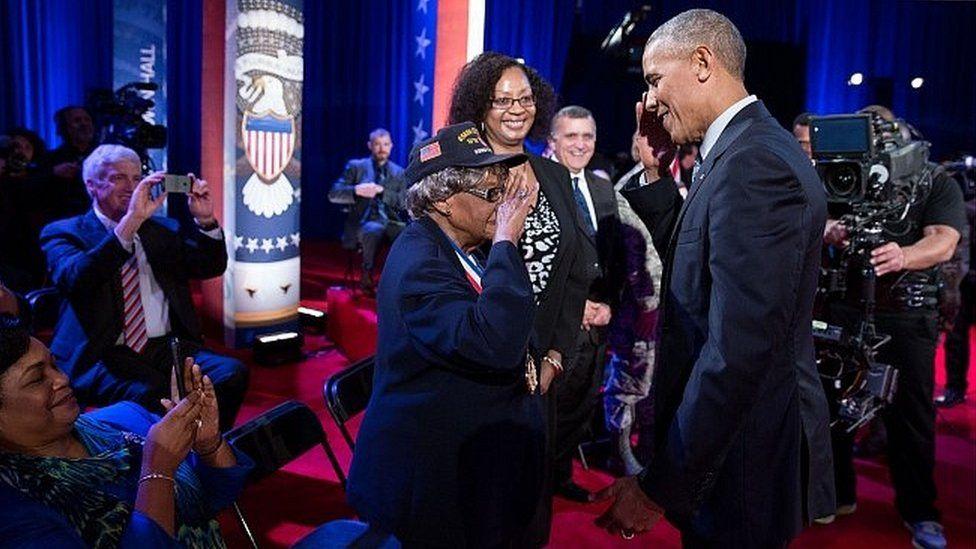 Millie Dunn Veasey meeting President Obama - 28 September 2016