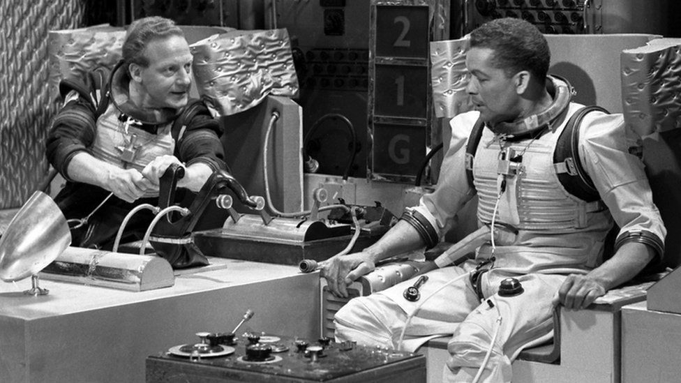 """Alan White as Schultz and Earl Cameron as Williams in a scene from """"Dr Who and The Tenth Planet"""""""