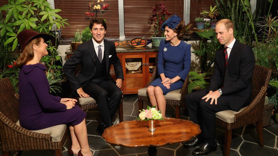 The royal couple and Justin Trudeau and his wife Sophie Gregorire