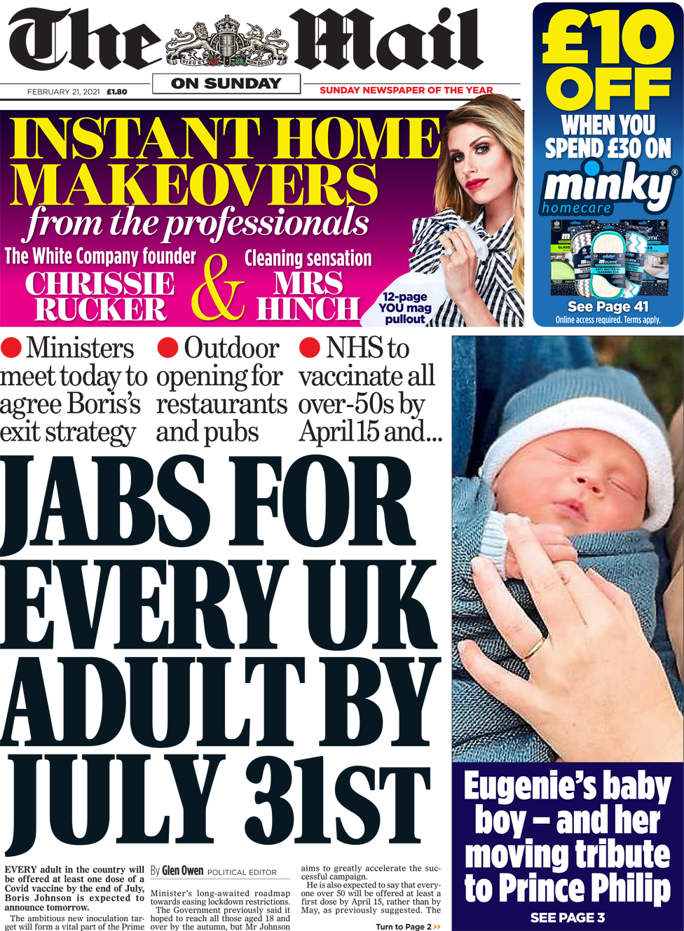 The Mail on Sunday front page 21 February 2021
