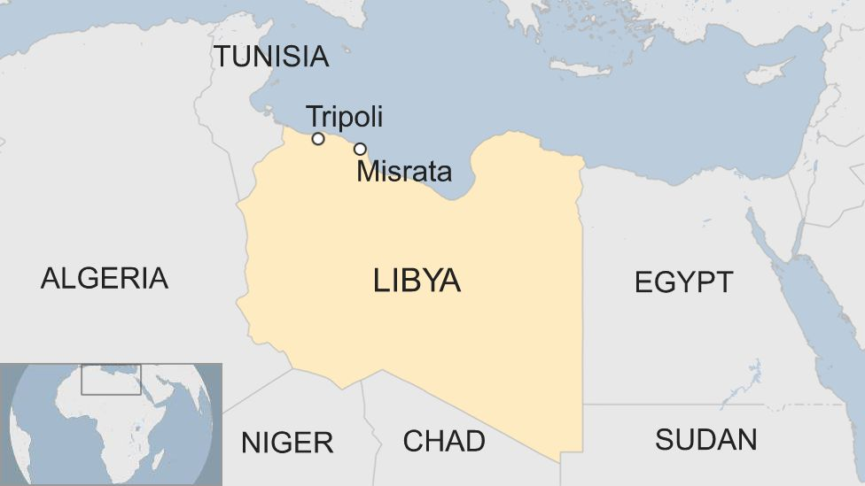 Map of Libya showing location of Misrata and Tripoli