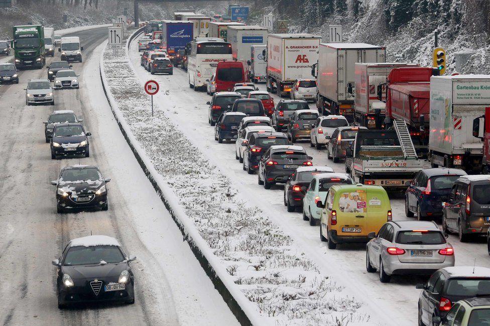 Traffic jam near Mülheim, western Germany, 11 Dec 17